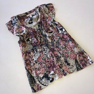 Banana Republic Floral Silk Ruffle Top Size Small
